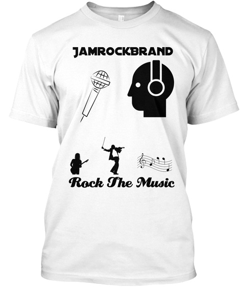 Jamrock Brand Rock  The Music White T-Shirt Front