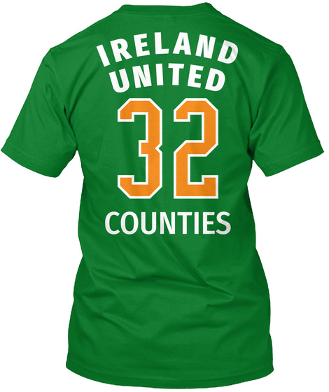 I Reland United 32 Counties Bright Green T-Shirt Back