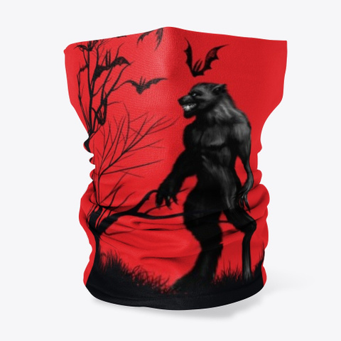 Halloween Werewolf Scary Party Gift Red T-Shirt Front
