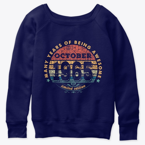 Born In October 1965 Vintage  Navy  T-Shirt Front