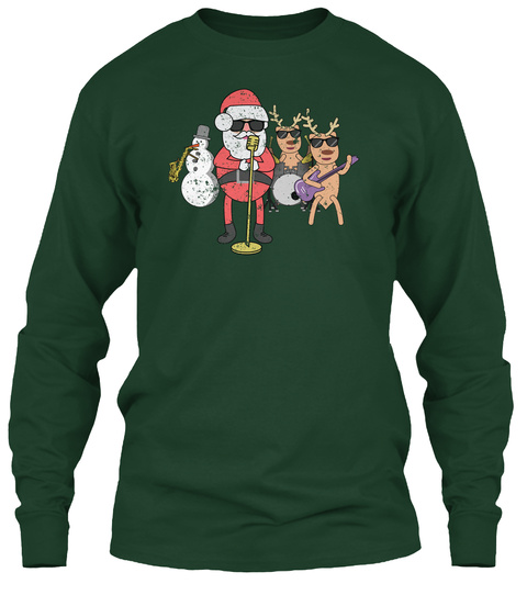 Rock N Roll Christmas Band Funny Forest Green T-Shirt Front