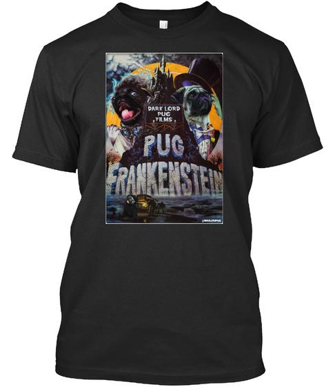 Pug Frankenstein Black T-Shirt Front