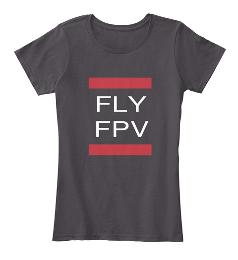 Fly Fpv Heathered Charcoal  T-Shirt Front