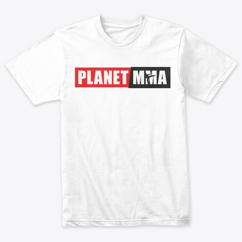 Planet Mma Red/Black Logo Heather White T-Shirt Front