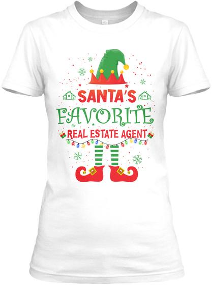 Santa's Favorite Real Estate Agent White T-Shirt Front