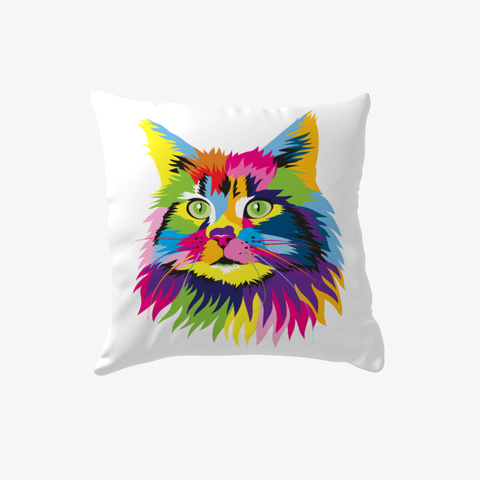 Colorful Persian Cat Pillow White T-Shirt Front