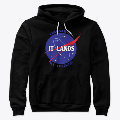 It Lands We Checked Black T-Shirt Front