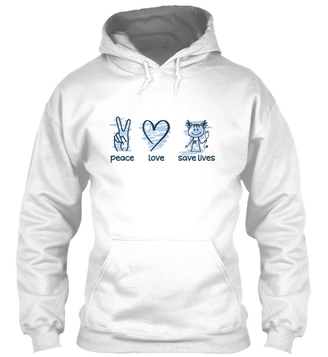 Cna Peace Love Save Lives White T-Shirt Front