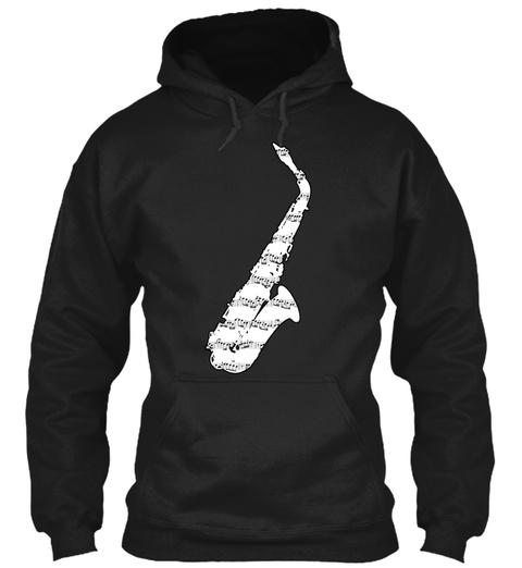 Euphie's Alto Saxophone Design Black T-Shirt Front