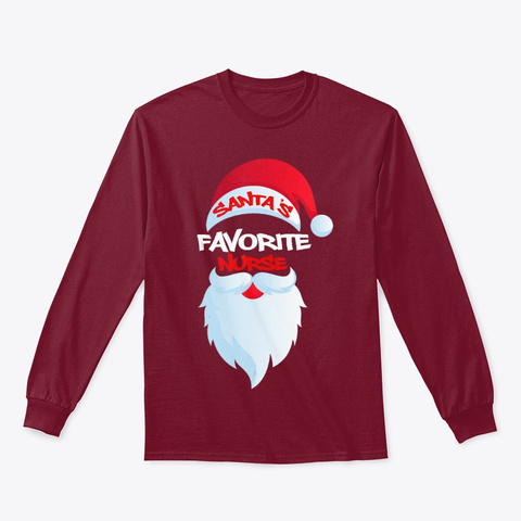 Santas Favorite Nurse 2 Nurse Shirt Cardinal Red T-Shirt Front
