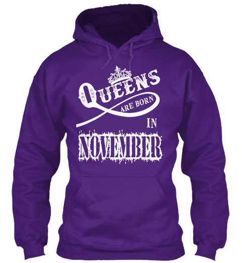 Queens Are Born In November Purple T-Shirt Front