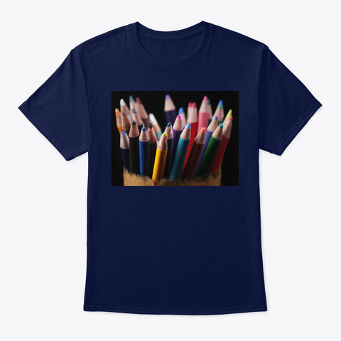 Colored Pencil  Navy T-Shirt Front