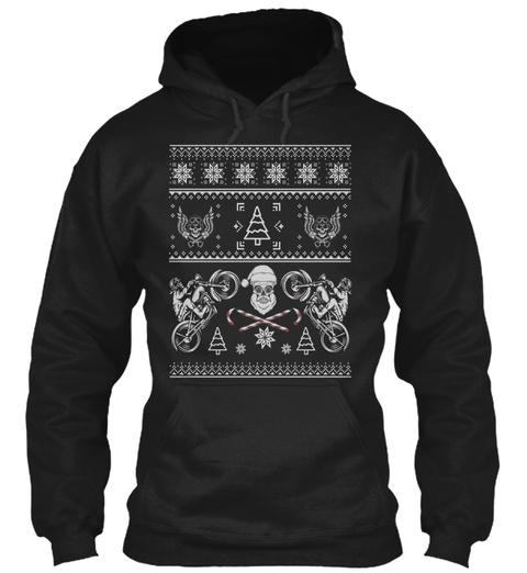 Motorcycle Biker Ugly Christmas Black T-Shirt Front