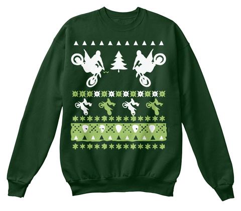 Christmas Moto Exclusive Ugly Sweaters Deep Forest  T-Shirt Front