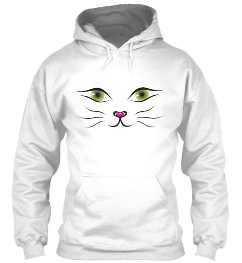 (Green Eyes) Cat Face Hoodie White Sweatshirt Front