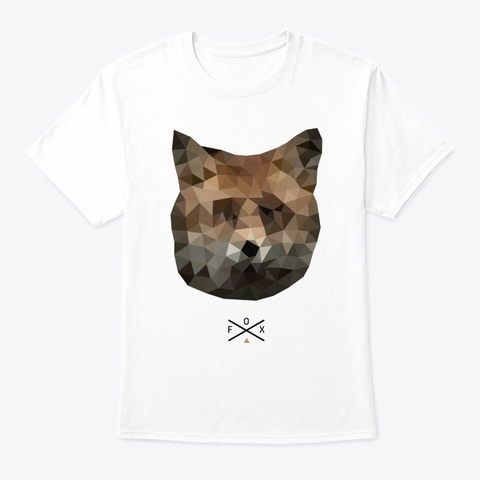 Fox Polygon Animal Graphic Pet Lover White T-Shirt Front