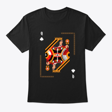 Queen Of Clubs   Poker Card Design Black T-Shirt Front