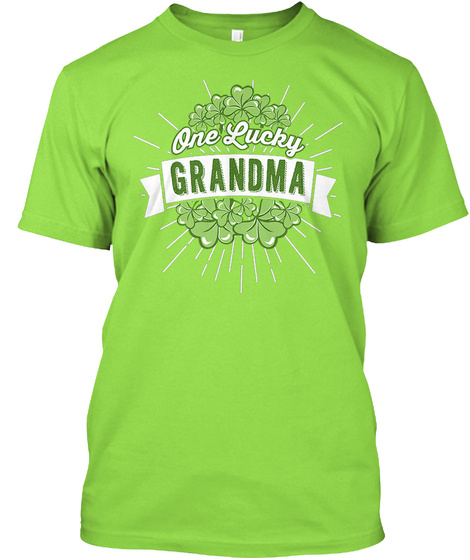 One Lucky Grandma Lime T-Shirt Front