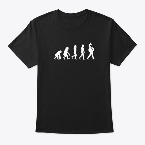 Tuba Player Evolution Marching Band Black T-Shirt Front