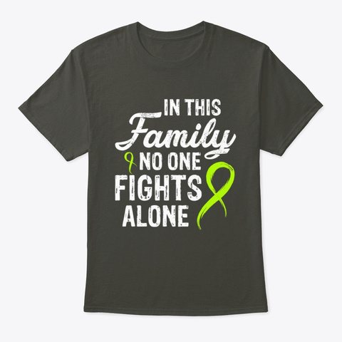 No One Fights Alone Lymphoma Cancer T Smoke Gray T-Shirt Front