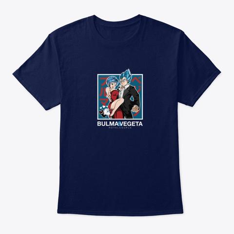 Bulma & Vegeta (Bleu) Navy T-Shirt Front