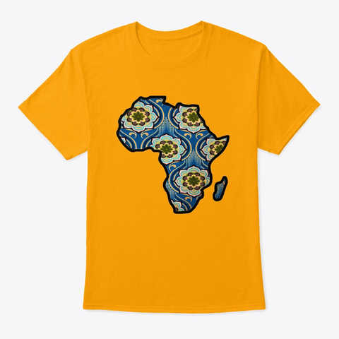 Blue Floral Africa Map Gold T-Shirt Front