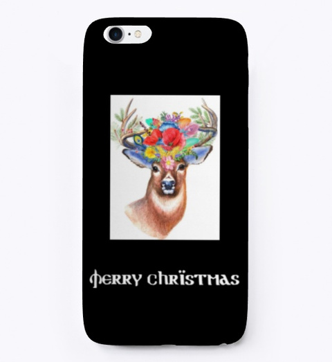 Deer, Stag, Hart & Merry Christmas  Black T-Shirt Front