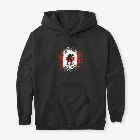 Ice Hockey Canada Ca Winter Sports Black T-Shirt Front