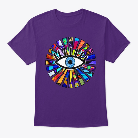 Greek Evil Eye Graffiti Sun Rays  Purple T-Shirt Front