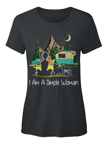 I Simple Woman Camping Yorkshire Terrier Black T-Shirt Front