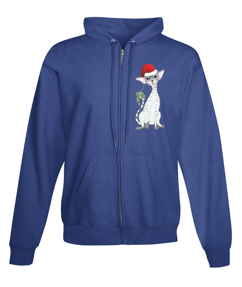 Blue Tabby Point Christmas Zip Up Hoodie Royal T-Shirt Front