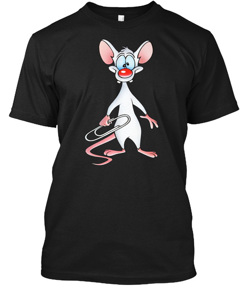 Pinky And The Brain Funny Cute Mouse T S Black T-Shirt Front