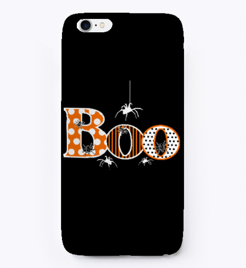 Boo With Spiders Halloween Phone Case Black T-Shirt Front