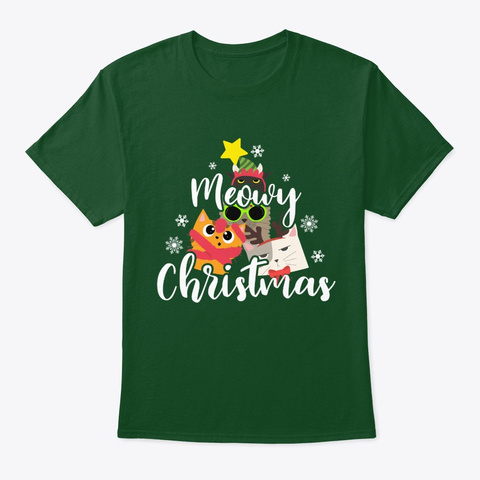 Cat Owner Present Meowy Christmas Deep Forest T-Shirt Front