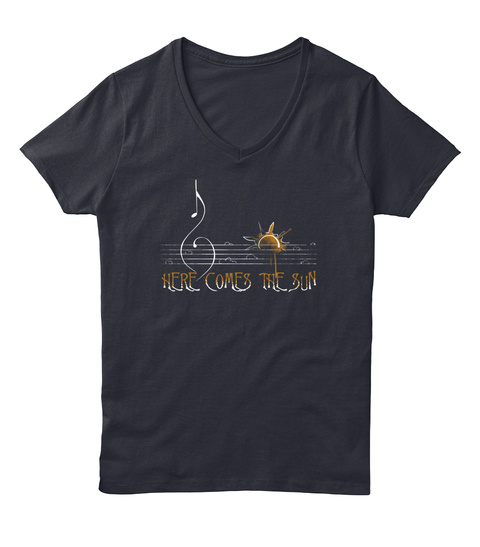 Here Comes The Sun Navy T-Shirt Front
