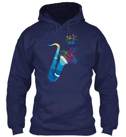 Hoodie Music Saxophone Musical Notes Navy T-Shirt Front