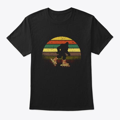 Retro Bigfoot Roller Skating Sasquatch Black T-Shirt Front