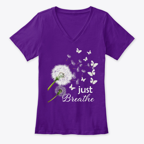 Just Breathe Yoga Meditation Team Purple  T-Shirt Front