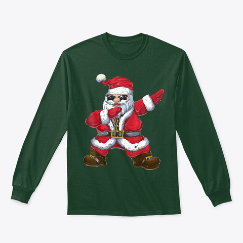 Vintage Santa Claus Dab Christmas Gifts Forest Green T-Shirt Front