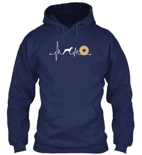 Heartbeat Ekg Pulse Pointer Donut Muffin Navy T-Shirt Front