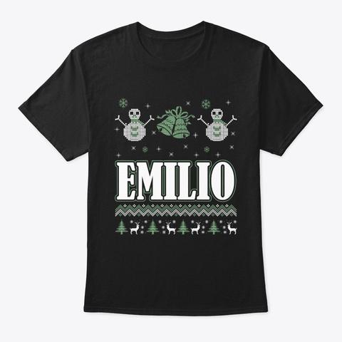 Emilio Ugly Christmas Sweater T Shirt Black T-Shirt Front