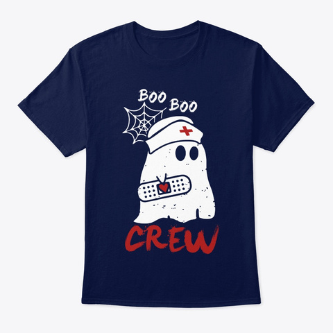 Nurse Boo Boo Crew Halloween Ghost 2 Navy T-Shirt Front