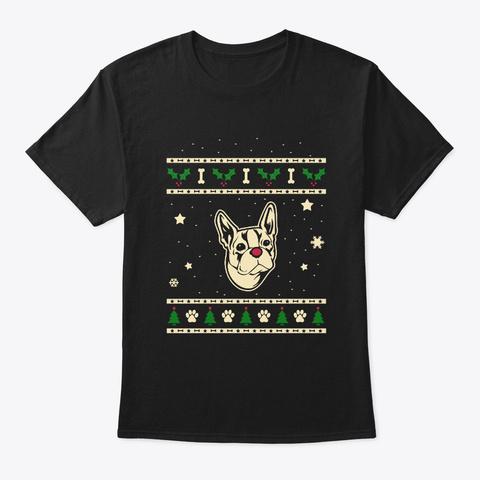 Christmas Boston Terrier Gift Black T-Shirt Front