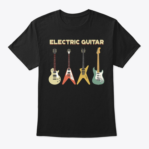 Vintage Electric Guitar For Music Lover Black T-Shirt Front