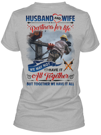 Awesome Lineman's Wife Sport Grey T-Shirt Back
