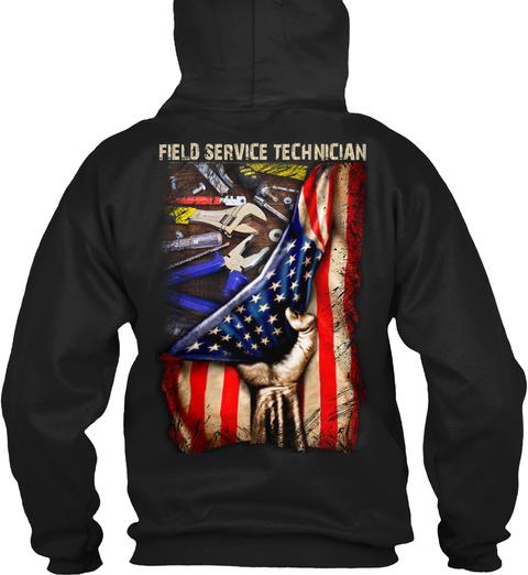 Field Service Technician Black T-Shirt Back