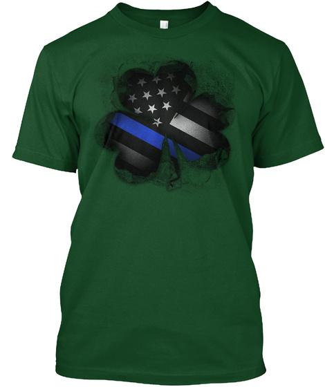 Thin Blue Line Clover Breakthrough Deep Forest T-Shirt Front