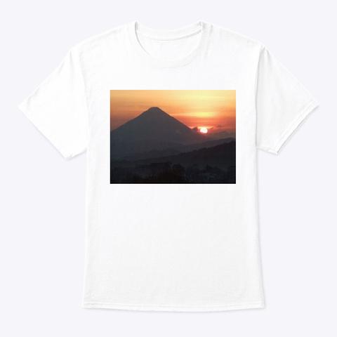 Volcano Sunset White T-Shirt Front