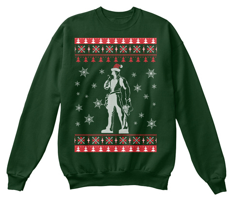 Job Roofer   Ugly Sweater Printed Style Deep Forest  T-Shirt Front