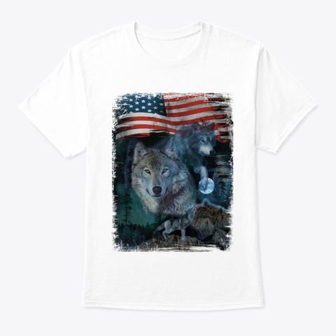 Wolf Trio Pack, Moon And Flag T Shirt White T-Shirt Front